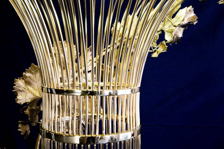 21st Century Sculptural Modern Handmade Led Chandelier in Steel Chrome For Sale 9