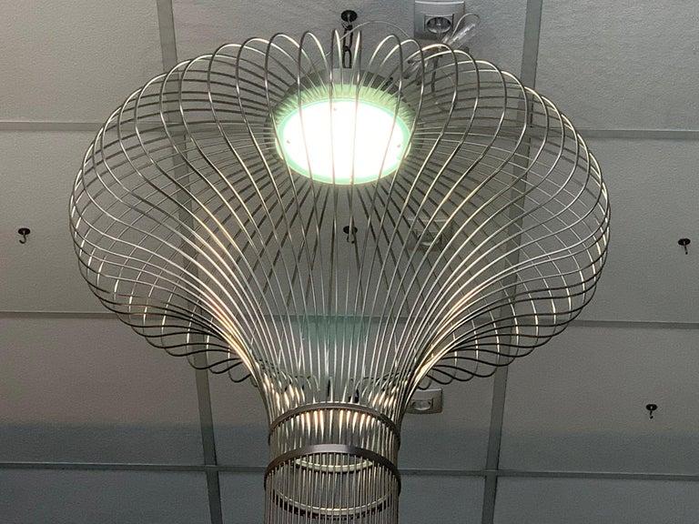 Mid-Century Modern 21st Century Sculptural Modern Handmade Led Chandelier in Steel Chrome For Sale