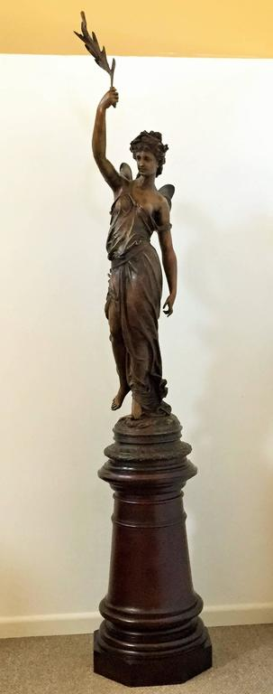Art Nouveau Monumental Spanish Bronze Lady Sculpture by Barbediene Fundition For Sale