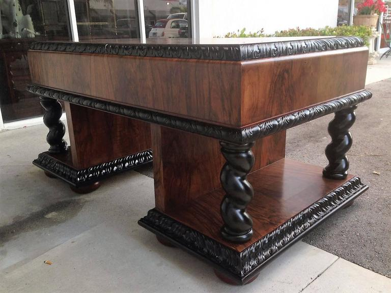 Important Art Deco Desk Table in Walnut with Black Glass Top In Distressed Condition For Sale In Miami, FL