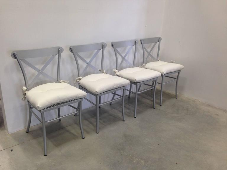 Modern Metal and Glass Dining Set. Garden furniture. Indoor & Outdoor For Sale