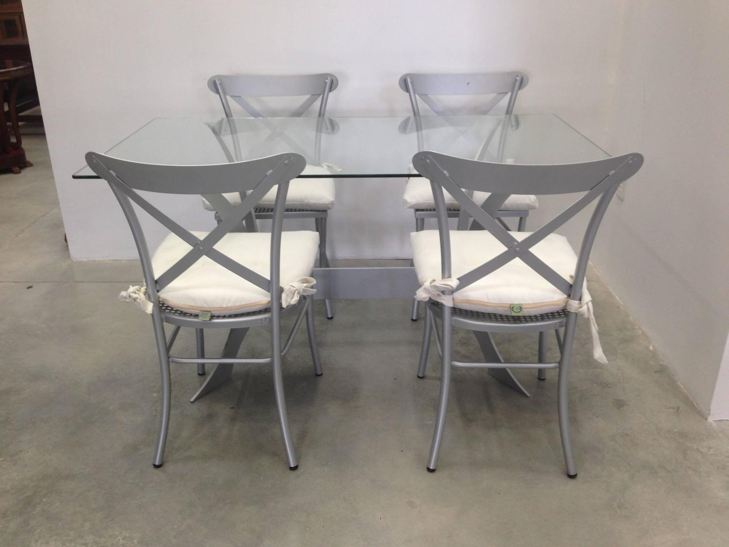 metal and glass dining set garden furniture for sale at 1stdibs