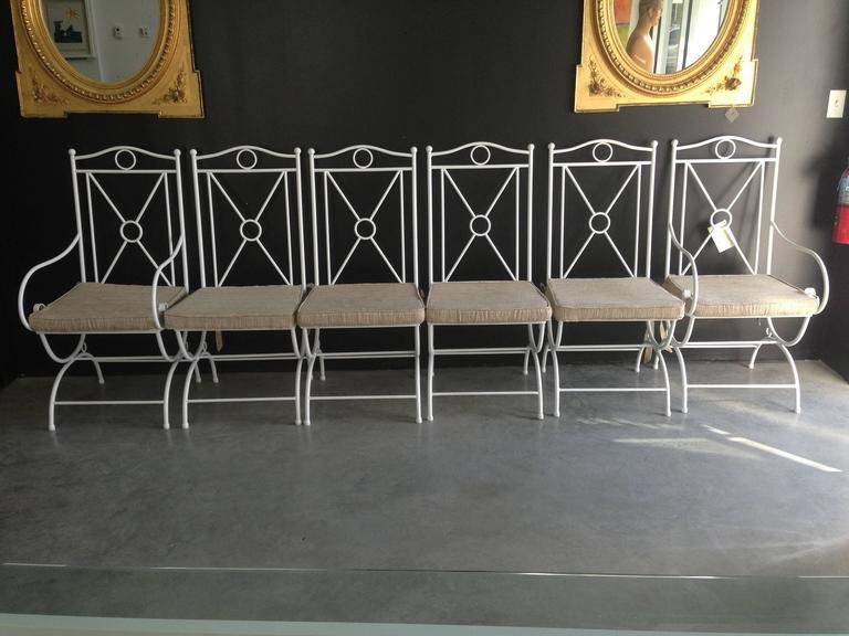 Spanish Handmade White Wrought Iron Patio Dining Set.Garden furniture For Sale