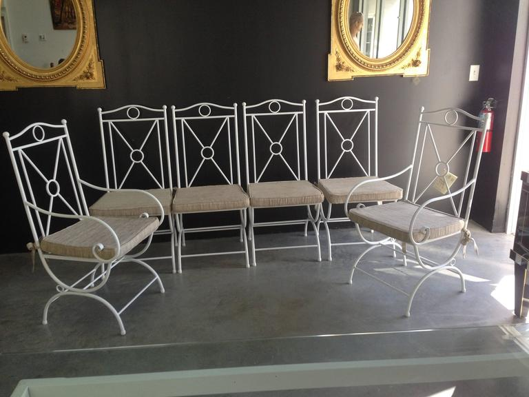 Contemporary Handmade White Wrought Iron Patio Dining Set.Garden furniture For Sale