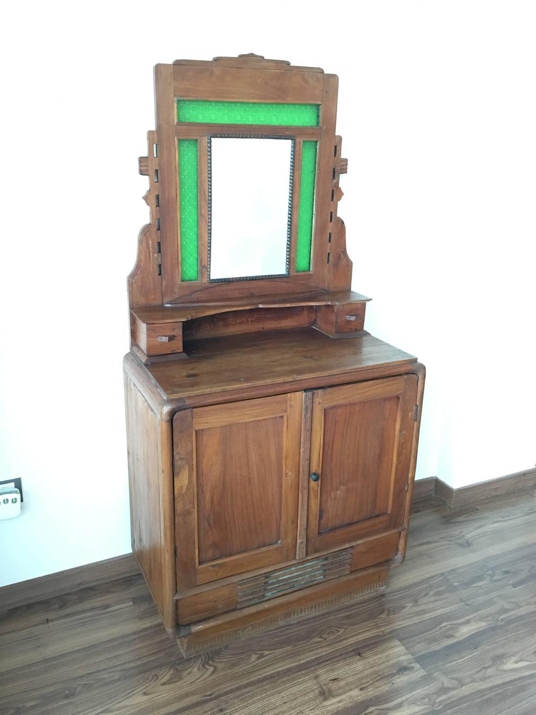 Mirrored Glass Buffet ~ Oak sideboard buffet with mirror and original green glass