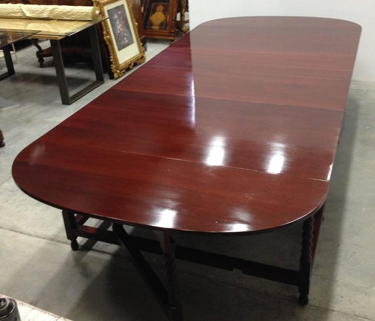 European Late Regency Period Two-Part Dining Table or Conference Table in Mahogany For Sale