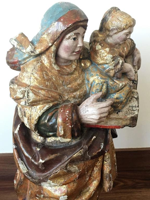 European 16th Century Spanish Carved & Polychrome Painted Saint Anne with the Infant Mary For Sale