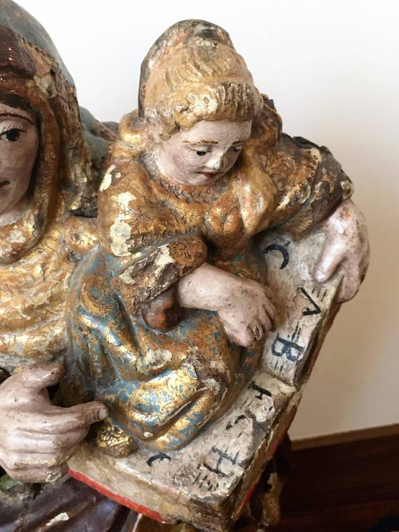 16th Century Spanish Carved & Polychrome Painted Saint Anne with the Infant Mary In Distressed Condition For Sale In Miami, FL