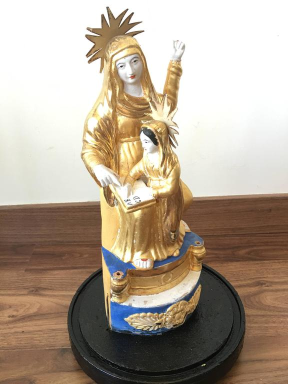Pair of Italian Gilded Sculptures Religious in a Glass Urn For Sale 1