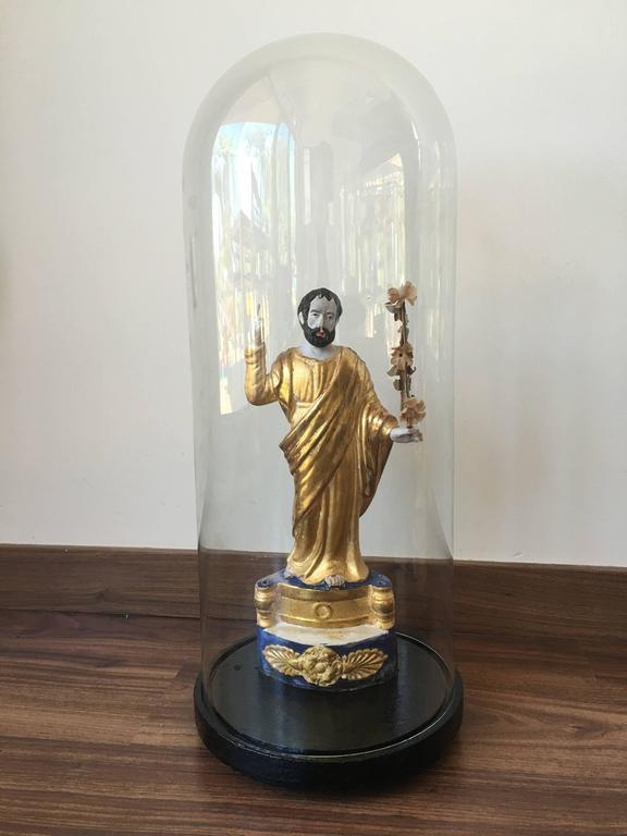 Pair of Italian gilded sculptures religious, circa 1930s.