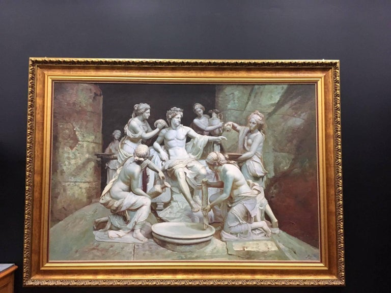 Italian 18th century stile old master oil on canvas. A hand painting reproduction of a marble sculpture of Francois Girardon at Versailles (1673). The subject and title it´s