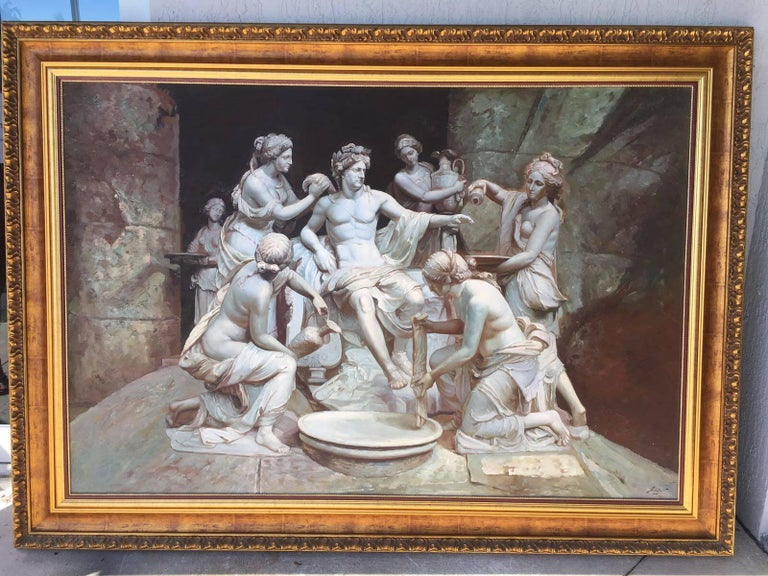 Classical Roman Apollo tended by the nymphs 61´x 84´ Large Italian 18th Century Style Old Master For Sale