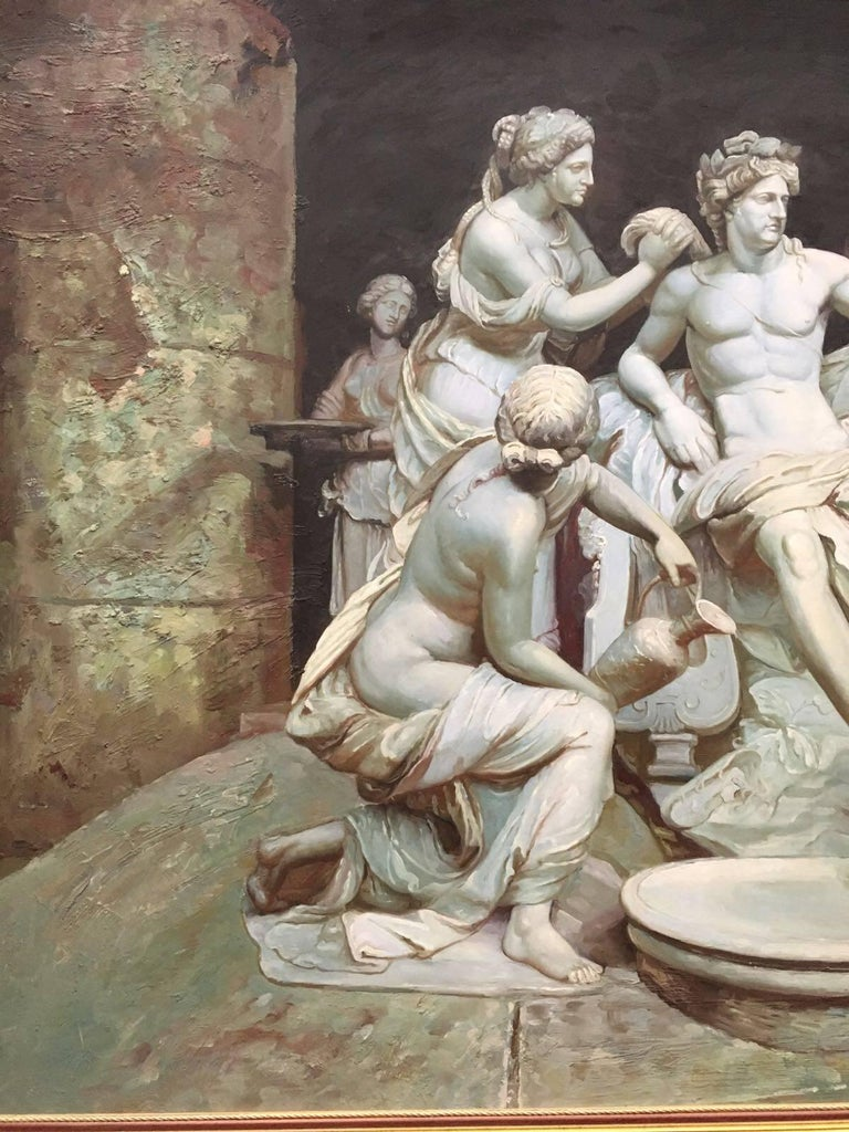 20th Century Apollo tended by the nymphs 61´x 84´ Large Italian 18th Century Style Old Master For Sale