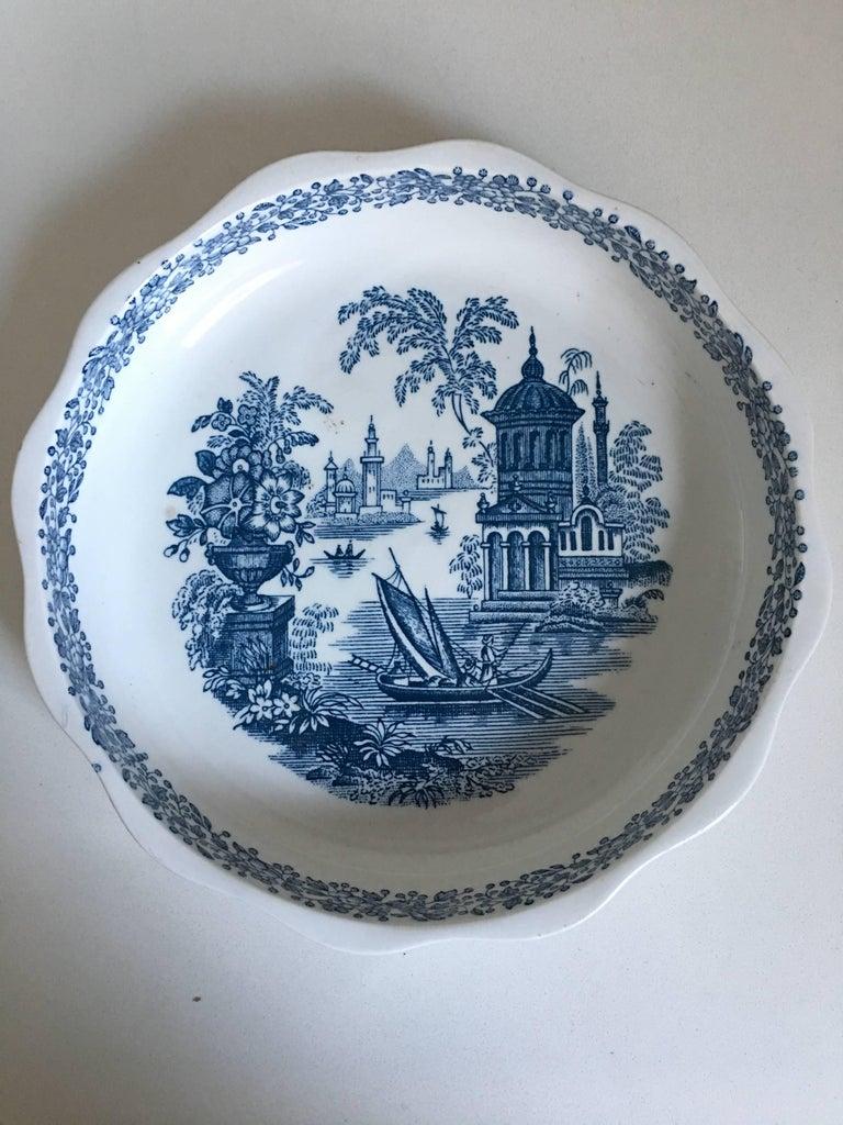 20th century Spanish bowl in white and blue by La Cartuja de Sevilla.