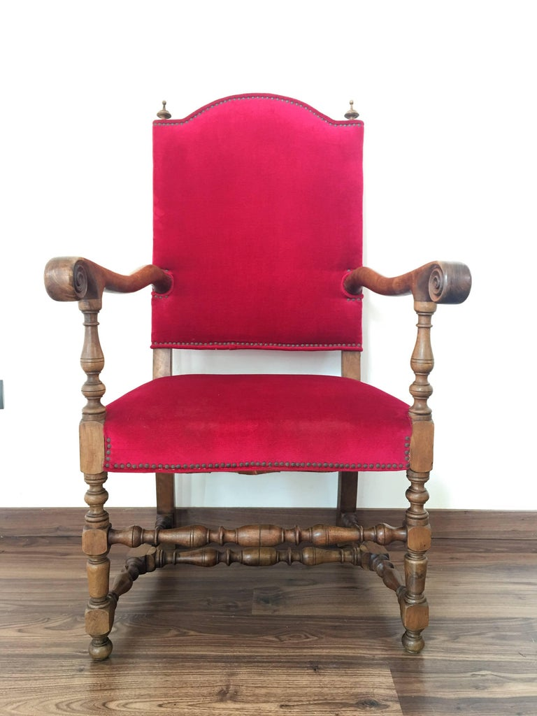 Red velvet chair - 19th Century Louis Xiii Style Fauteuils Throne Armchair In Red Velvet 2