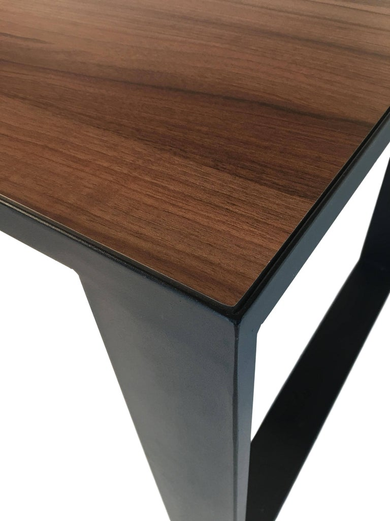 Contemporary Rectangular Iron Cube Table With Embedded Wood Top Dinner Or Desk For