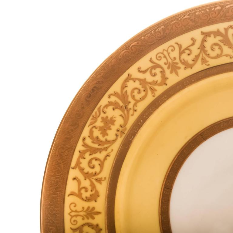 Hand-Crafted 12 Antique English Dinner Plates Yellow and Raised Gold Custom Ordered  For Sale