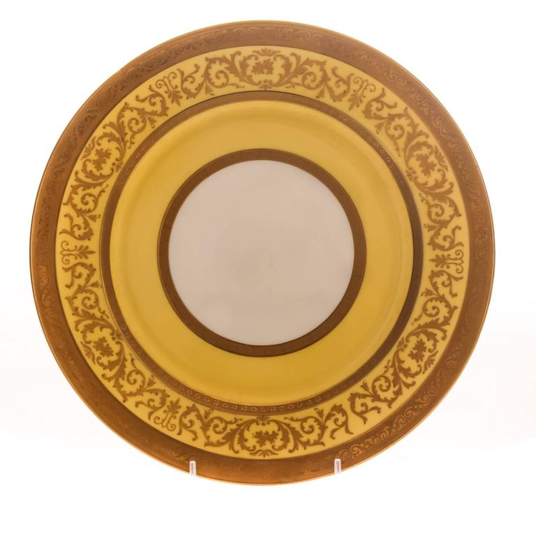 Early 20th Century 12 Antique English Dinner Plates Yellow and Raised Gold Custom Ordered  For Sale