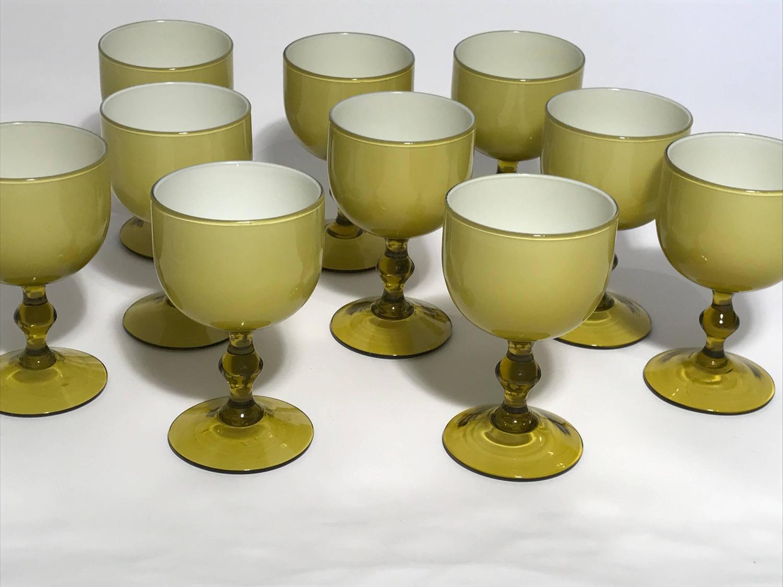Ten Carlo Moretti Italian Cased Glass Wine Goblets, Amber and White ...