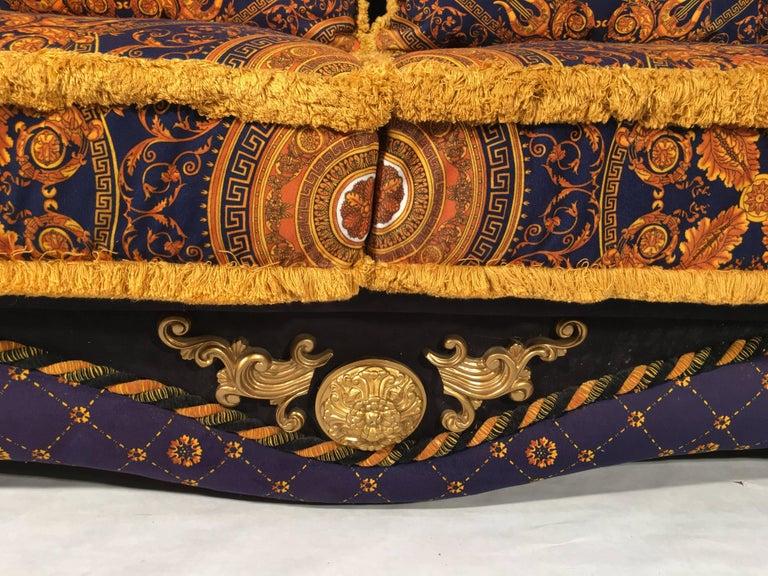 1980 Italian Design Neo Barocco Velvet Sofa Versace
