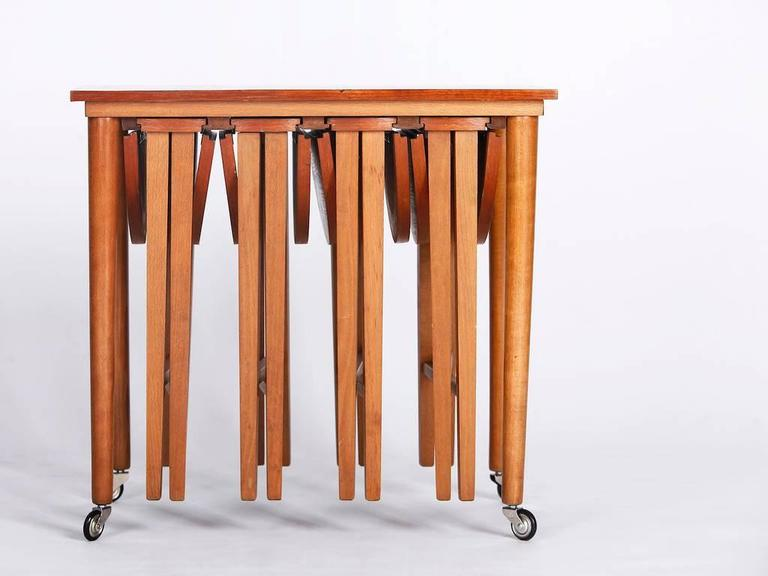 Set Of Tables Part - 20: Set Of Five Mid-Century Nesting Tables, Designed By Poul Hundevad In The  1960s