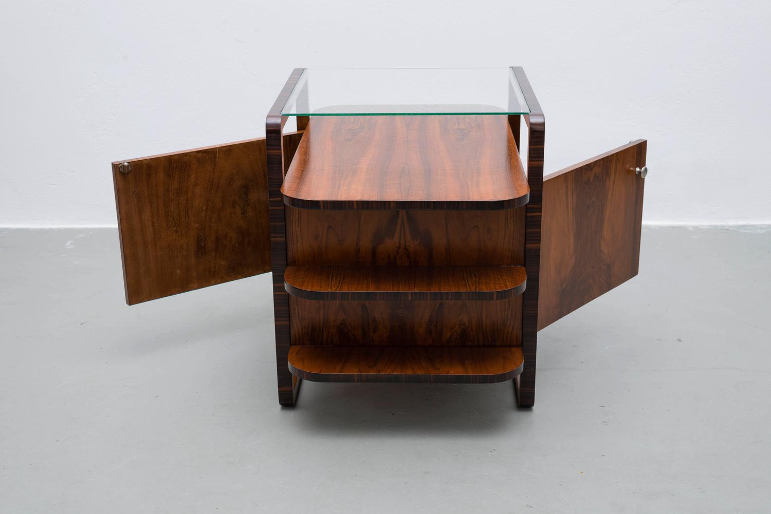 Art deco bar in walnut from the 1930s czech bauhaus rare for Examples of art deco furniture