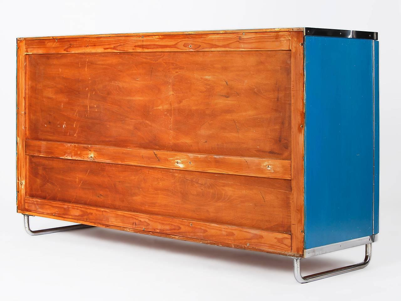 rare tubular steel sideboard czech bauhaus from the 1930s. Black Bedroom Furniture Sets. Home Design Ideas
