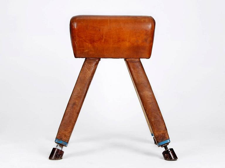Mid-Century Modern Leather and Wood Vaulting Horse from the 1930s For Sale