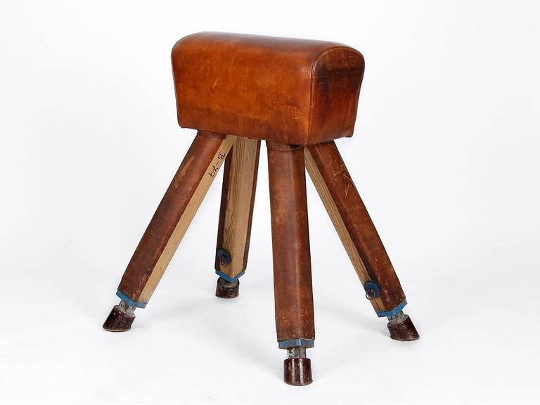 Leather and wood vaulting horse from the 1930s.