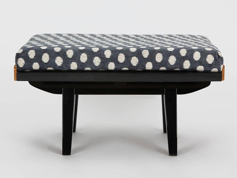 Coffee table from Tatra Pravenec, Tschechoslowakei, 1960s, full restored Originally designed as a low side table. Can also be used as a footstool with a coconut fiber and sheepwool cushion. Surface black piano lacquer and birch veneer