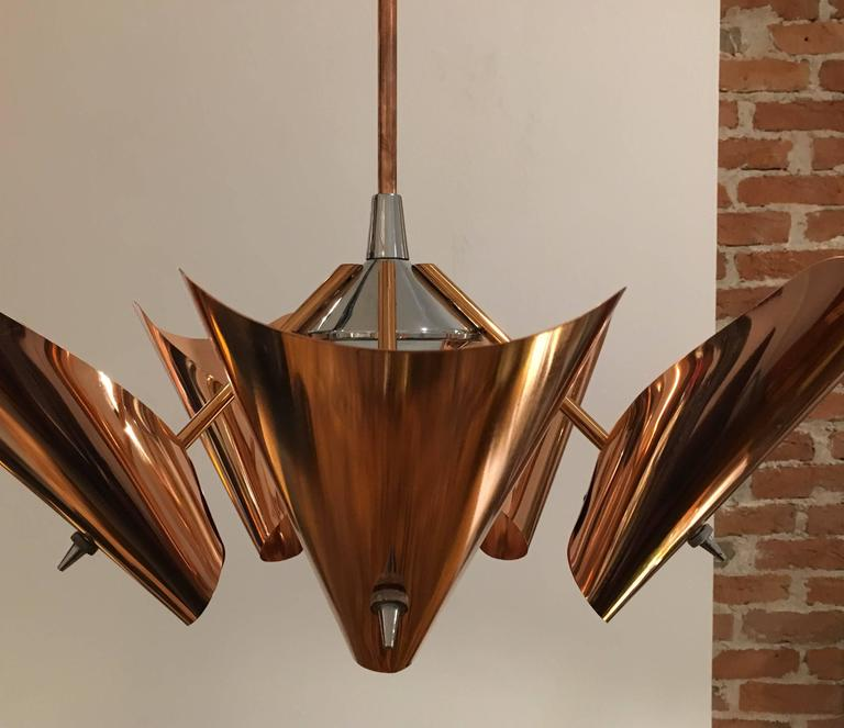 Mid Century Copper Chandelier From Drupol 1960s For Sale