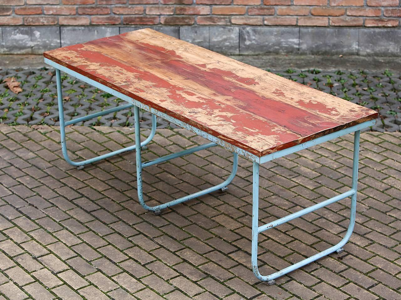 Czech Midcentury Industrial Dining Table, 1950s For Sale