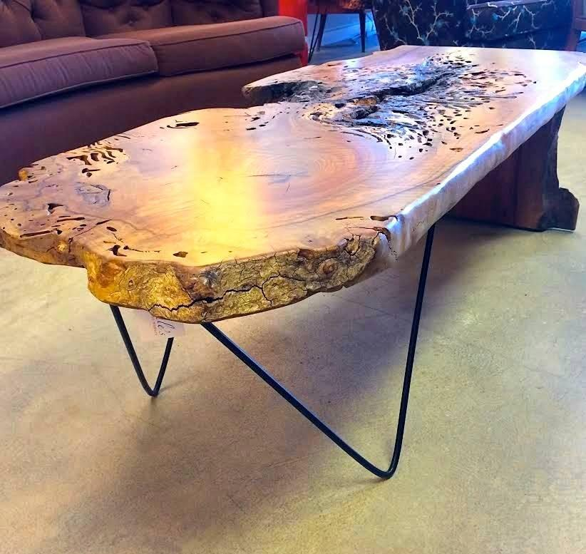 Live Edge California Black Walnut Hairpin Leg Coffee Table