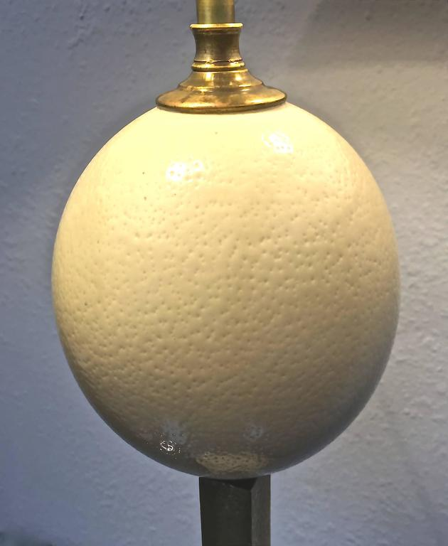 Ostrich Egg Table Lamp In Hammered Brass With Custom Shade