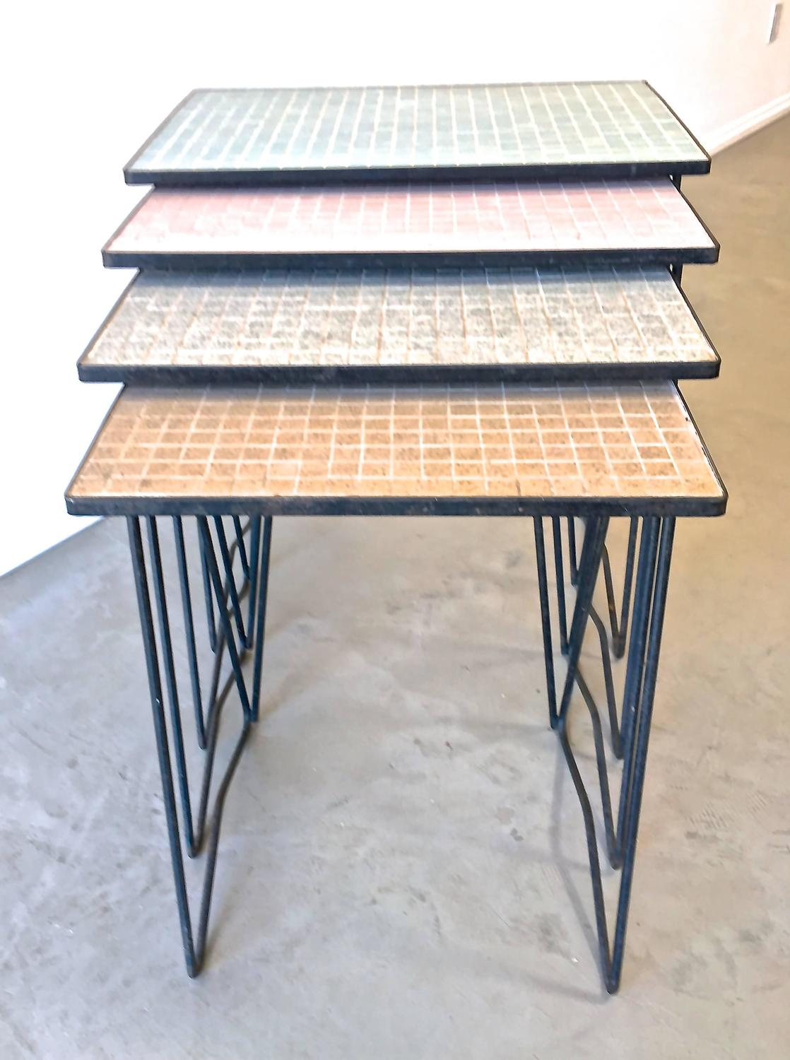 Mid century modern wrought iron and mosaic tile nesting