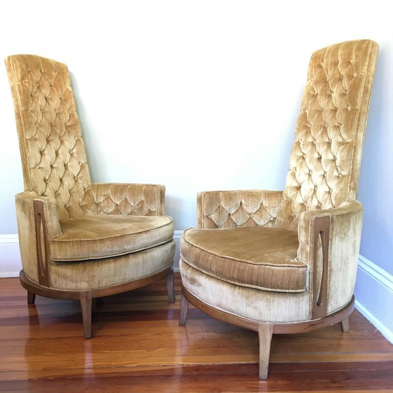 Superb Hollywood Regency Pair Of High Back Chairs In Vintage Tufted Gold Velvet At  1stdibs