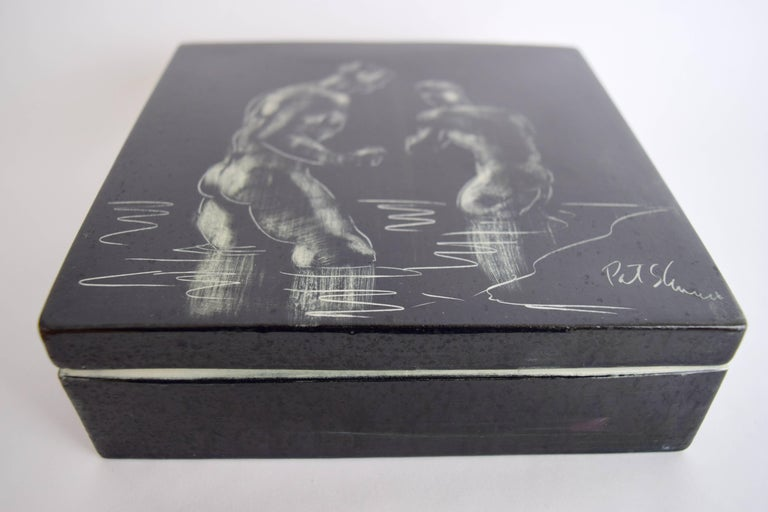 Mid-Century Modern Pat and Covey Stewart Art Pottery Box Titled Bathers For Sale
