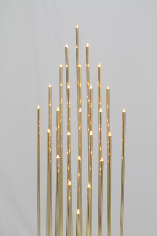 Mid-Century Modern Swedish Brass Tiny Tube 25 Bulb Light Sculpture For Sale