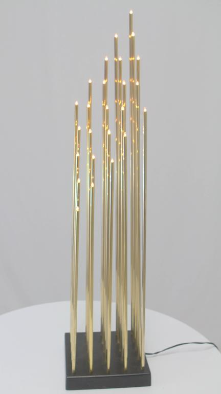 Swedish Brass Tiny Tube 25 Bulb Light Sculpture In Good Condition For Sale In Chicago, IL