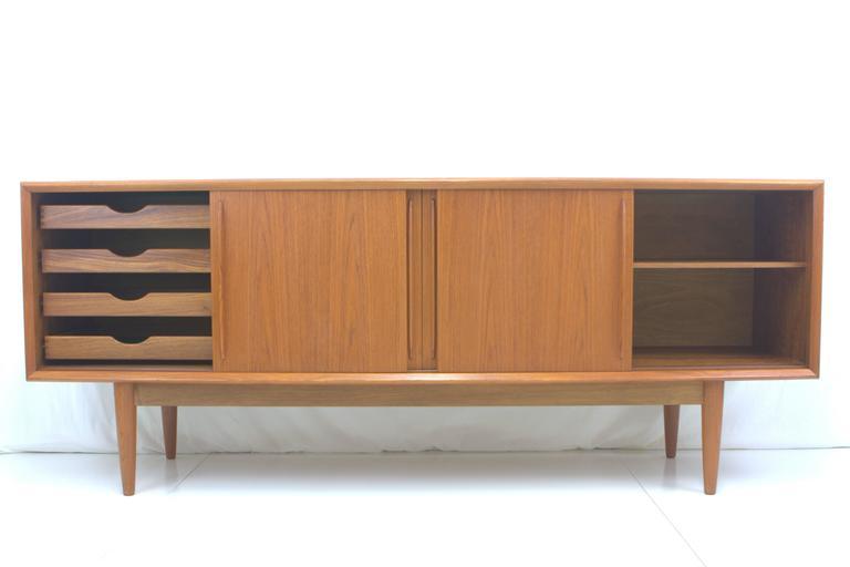 Mid-Century Modern Arne Vodder Bowfront Teak Credenza for H.P. Hansen For Sale