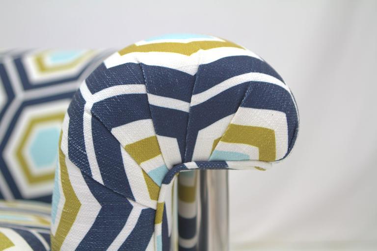 Chrome Milo Baughman Style Lounge Chair For Sale