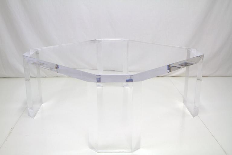 """Stunning cocktail table comprised of 2"""" thick Lucite slabs with legs mitered at corners. Light reflects and radiates from all edges making it quite a statement piece."""