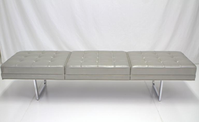 20th Century Milo Baughman Style Chrome and Metallic Leather Upholstered Bench For Sale