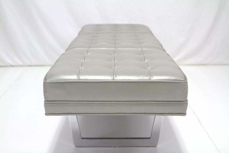 Mid-Century Modern Milo Baughman Style Chrome and Metallic Leather Upholstered Bench For Sale
