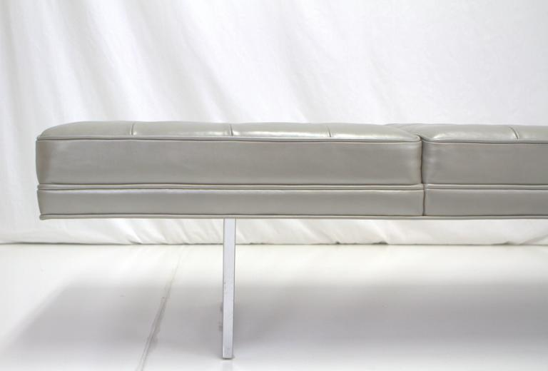 American Milo Baughman Style Chrome and Metallic Leather Upholstered Bench For Sale