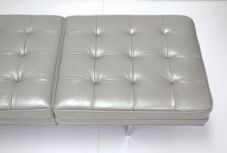 Milo Baughman Style Chrome and Metallic Leather Upholstered Bench For Sale 1