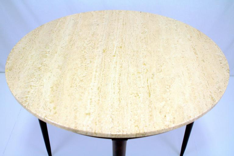 Walnut Mid-Century Italian Travertine Marble Table in the Style of Gio Ponti For Sale