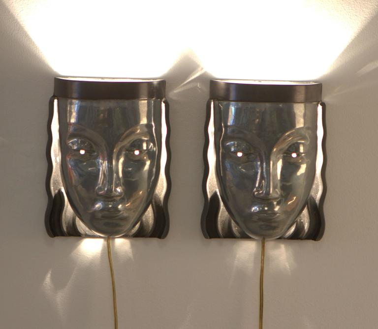 Pair of Art Deco Revival Female Face Wall Sconces 4