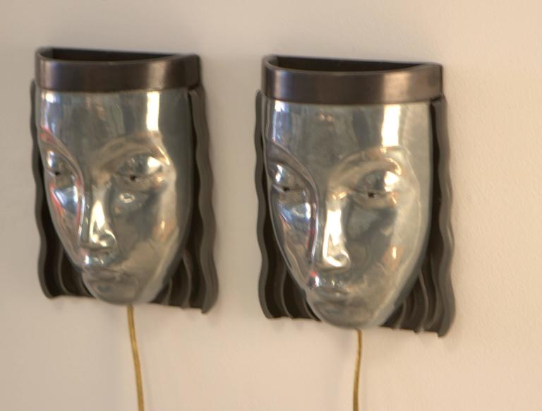 Pair of Art Deco Revival Female Face Wall Sconces 2