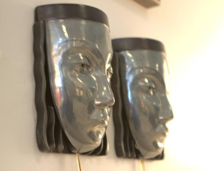 Pair of Art Deco Revival Female Face Wall Sconces 3